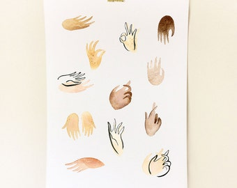 Gestures A3 Print - Watercolour + Ink  Illustration