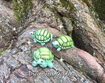 set of 3 fairy garden turtles, miniature turtle, miniature garden turtle, miniature turtles, fairy supplies, fairy garden accessories