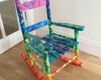 Chakra Decoupage Child's Rocking Chair