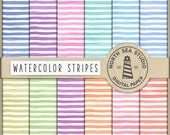 BOLD LINE, Watercolor Stripes Digital Paper, Watercolor Backgrounds, Stripes Pattern, Watercolour Paper, Don't Forget Use Coupon Code!