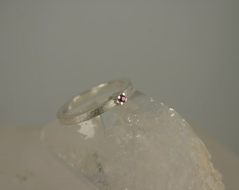 Ruby Ring, Princess Ring, Sterling Silver Satin Brushed Princess Ring– brushed sterling silver ruby ring –hand made jewelry
