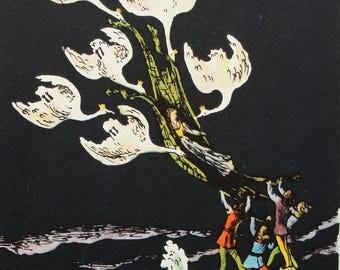 """Illustrator V. Konashevich. """"The Wild Swans"""" Hans Christian Andersen. Vintage Soviet Postcard - 1963. Sovetskiy hudozhnik."""