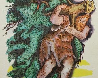 "Illustrator V. Konashevich. ""The Brave Little Tailor"" Brothers Grimm Fairy Tale. Vintage Soviet Postcard - 1964. Sovetskiy hudozhnik. Giant"