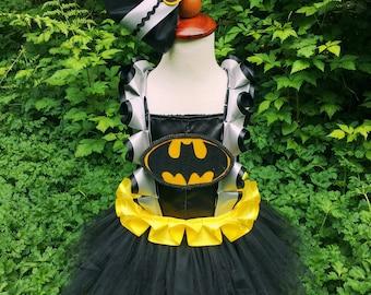 Batman tutu dress and hair bow SET/Black tutu dress/Robin and batman