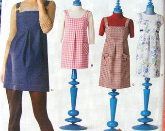 2008~Simplicity New Look Pattern 6826~New & Uncut~Empire Waist Jumper~Sundress or Tunic~Sizes 6 thru 16~Women's