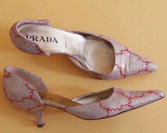 90s brocade PRADA kitten heels