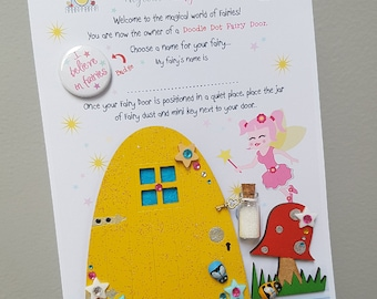Fairy door, yellow star mix, hand painted wooden fairy door
