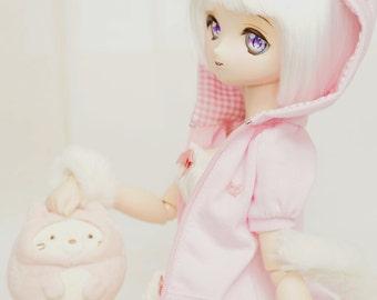 BearMart - Cat Ears Short Sleeve Jacket with hood for Mini Dollfie Dream & Mini Super Dollfie dolls