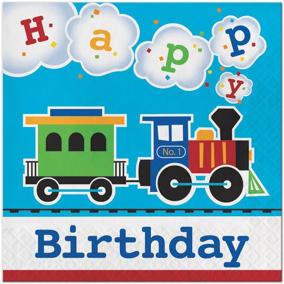 My Choo Choo Train Happy Birthday Napkins Train Theme