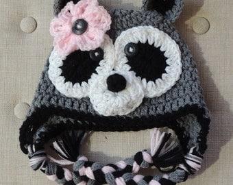 Crochet Raccoon Hat, LuvBeanies, Animal Hats, Children Hats, Crochet hats for kids, Photo prop, Girl Raccoon Hat, Raccoon hat, Winter Hats