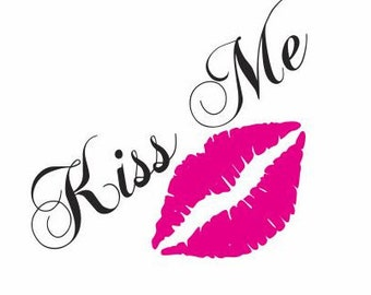 Kiss me Decal:  Car Decals for Women,  LIPS Decal for Car Windows, Car Vinyl Decals, Kissing Decals, Teen Girl Gifts, Girly Stickers
