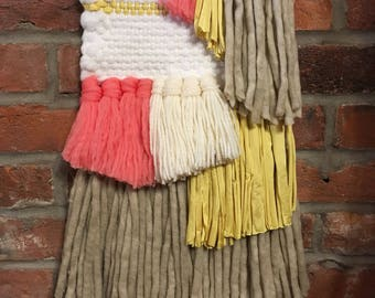 Woven wall hanging weaving   coral + yellow   Wood dowel   Tissage