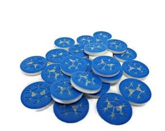 Snowflake buttons, 10 blue buttons, blue snowflakes, xmas buttons, Christmas buttons, sewing buttons, cardmaking buttons, uk button supplies