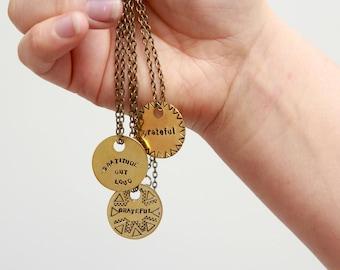 Gratitude Grateful Necklace // Brass Circle Pendant Necklace // Hand Stamped // Mantra Necklace // Grateful Mantra // Gratitude Out Loud