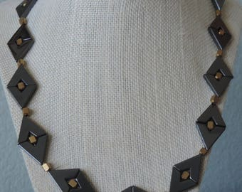 Chevron Necklace,  Hematite Necklace,  Black Necklace,