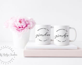 Pregnancy Reveal Mug | Promoted to Grandma | Promoted to Grandpa | Pregnancy Announcement Mug | Baby Announcement | New Grandparents Gift