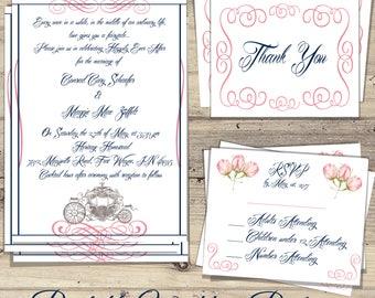 Cinderella Wedding Invitation Kit, Navy U0026 Pink Cinderella Wedding  Invitations, Cinderella Wedding Invitation,