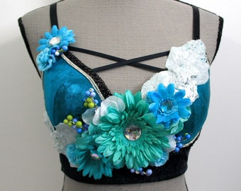 34D Flowers and Ice Rave Bra