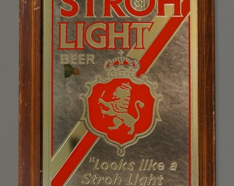 Vintage Stroh Light Beer Bar Mirrored Sign Mirror Advertisement Alcohol Ad Wall Art