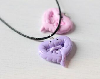 Intestines necklace - Cute handmade organ, irritable colon pendant, lilac guts