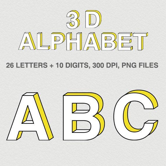 Digital Alphabet Amp Numbers 3d Alphabet Letters Instant