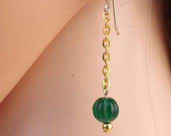 Green earrings, green and gold earrings, melon earrings, dangle earrings, drop earrings, summer earrings