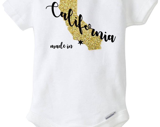 Made in California with Glitter Gold State Baby Onesies®, Baby Bodysuit, Born in California, Baby Shower Gift, Going Home Outfit