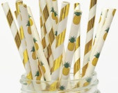 Gold Pineapple Straws Mix, Pineapples Party Decorations, Luau, Tropical Wedding, Bridal Shower, Gold Foil, Metallic, 10CT