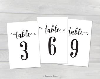 Printable PDF Table Numbers 1-50 | 2.5x3.5 | 4x6 | 5x7 | Black Script Calligraphy Wedding Rehearsal Dinner Birthday Party Instant Download
