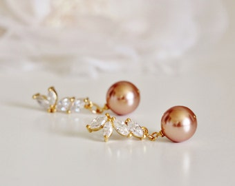 Swarovski Rose Gold Pearl Earrings Wedding Jewelry Bridesmaid Gift Earrings Crystal Leaf Earrings Gold Bridal Earrings Bridesmaid Jewelry