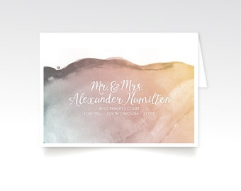 The LAUREN . Address Printing & Envelopes . Custom Guest Names in White Calligraphy . Watercolor Gold Blush Grey Teal . Fits 5 x7 Invitation