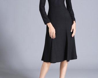 Wool Dress Black Mid Calf Dress Made to Measure Fishtail Dress Sheath Long Dress Plus Size Clothing Black Evening Dress Midi ChiefLady CC377