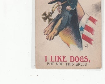 """WWI Patriotic Postcard """"I Like Dogs But Not This Breed"""" Dachshund In Trouble"""