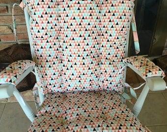 Mint, Coral, Gold Arrowhead Rocking Chair Cushions, Rocking Chair Pads, Glider Replacement Cushions, Wooden Rocker Cushions, Nursery Rocking