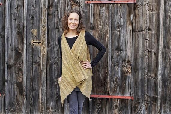 Wool Waterfall Vest I Sleeveless Wrap Cardigan I Yellow Grey Woolvest I Waterfall Neckline