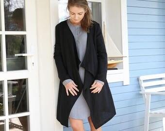 Washed Linen Cardigan / Women's Jacket / Stylish Linen Coat / Elegant Summer Cardigan   Washed Soft Linen Top   Handmade