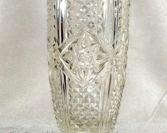 Vintage SKLO Union Czech Inwald - Rudolfova Hut Clear flint Pressed art Glass Bouquet Vase 20cm tall Design No: 09655 c.1950's (ref L243-12)