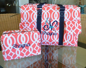 "Organizer Utility Tote, Coral Vine, 19"",Acc bag,  Monogram with your design!!"
