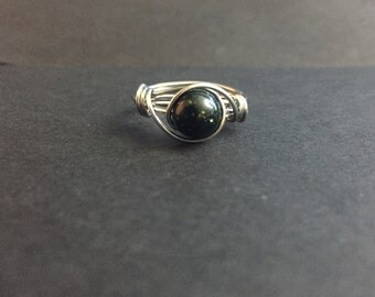 Green Goldstone Greenstone Wire Wrapped Ring