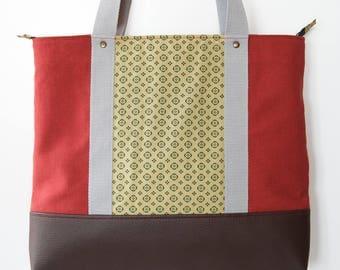 Large tote bag, shoulder bag, handmade fabric bag, canvas bag, vegan bag, red bag, geometric fabric, green, everyday bag, filobianco, school