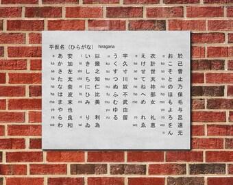 Japanese Alphabet Hiragana Script Wall Art Poster Print Typography Art