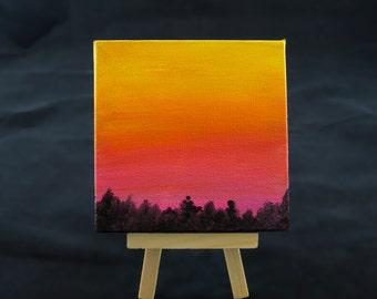 Mini Canvas Art, Nature Painting, Sky Painting, Tree Silhouette Art, Tiny Canvas Painting, Orange Sunrise, 4x4 Canvas