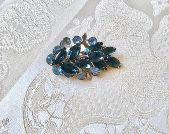 Vintage Navy Midnight Blue and Ice Blue Rhinestone Leaf Brooch