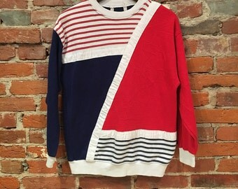 Vintage Women's Navy and Red Cool Retro Diagial Striped Sweatshirt Small
