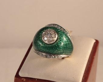 Beautiful Toliro 18k Enamel & Diamond Ring, Circa 1960's