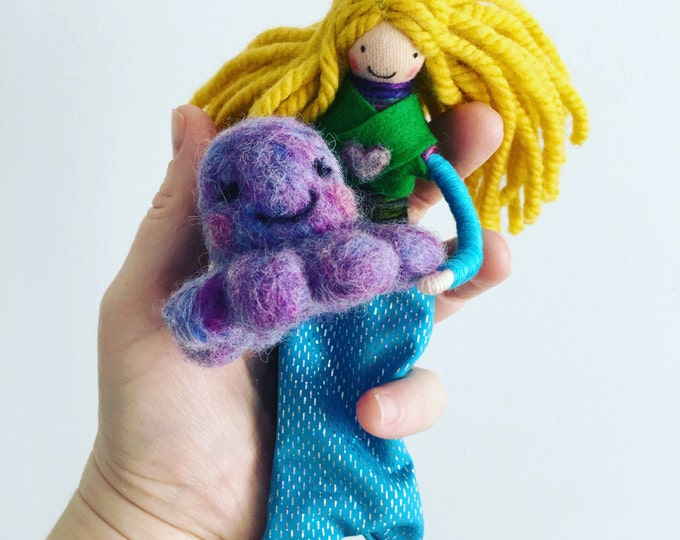 Mermaid doll, mermaid bendy doll, needle felted octopus, dollhouse doll, sea creatures, handmade toys, gifts for kids, small doll