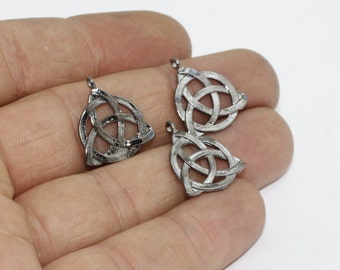 2 Pcs Gunmetal Celtic Knot Charms, Flower of life charms, Triquetra Charms , 17x19mm, FRY