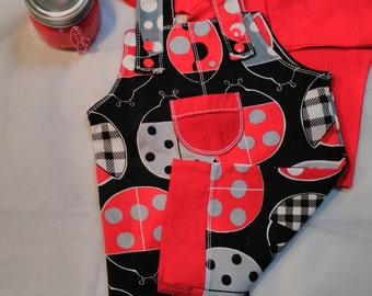 Overalls, Lady Bug Red, Black And White, One Piece Boys Overalls, Long Sleeve Tshirt, Boys Shirt, Boys Outfit, Red Boys Shirt