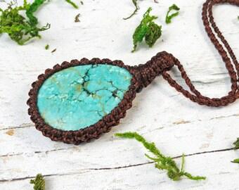 Turquoise Necklace, Blue Stone Pendant, Wrapped Pendant, Stone Jewelry, Turquoise Crystal, Macrame Turquoise Necklace, Spiritual Gift