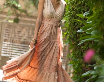 Carrie Dress, Hippie Urban Evening Summer Maxi Dress, Unique dress, Bridesmaid dress, Peach-pinkish, Romantic Flower Cotton boho chic dress